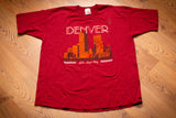 90s Denver Mile High City T-Shirt, XL, Vintage Tee, Cityscape Skyline, Colorado