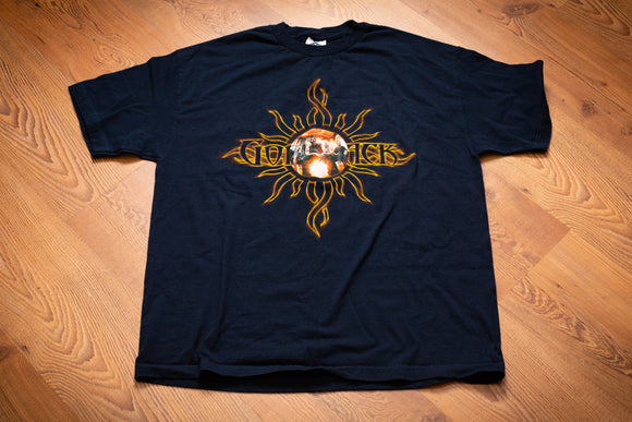 Dark blue t-shirt with Godsmack graphic and band photo from 2001 Summer Tour