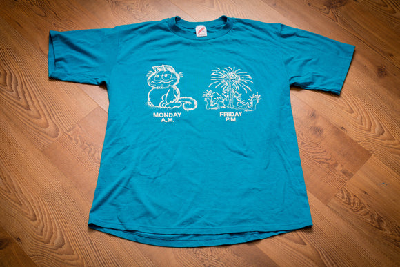 80s-90s Monday AM and Friday PM Cats T-Shirt, L, Vintage, Garfield, Bill the Cat