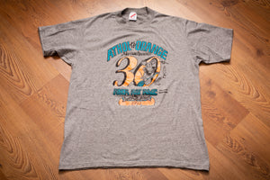 Vintage 1990s gray t-shirt with cartoon graphics of rats and text promoting the 1993 30th Annual Athol to Orange River Rat Race in Massachusetts