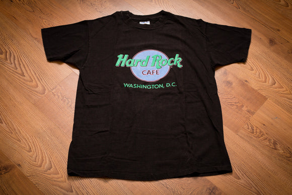 80s-90s Hard Rock Cafe Washington DC T-Shirt, L, Vintage HRC Tee, Music