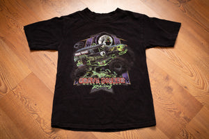 vintage 90s to y2k black t-shirt with grave digger monster truck racing graphics