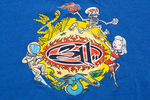 90s-2000s 311 Cartoon Graphic T-Shirt, L/XL, Vintage 1990s, Rock Band Tee