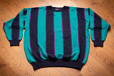 80s-90s Hot Gossip Striped Sweater, XL/2XL, Vintage Crewneck, Teal and Purple Stripes