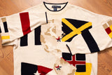 90s-00s Nautica National Flags Knit Sweater, XL, World Map, Knit Shirt