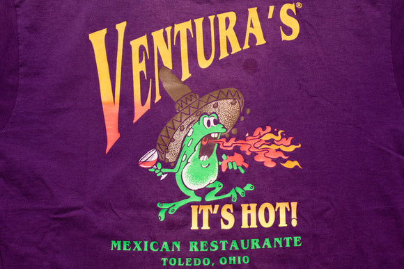 90s Ventura's Mexican Restaurante Frog T-Shirt, XL, Vintage 1990s, It's Hot