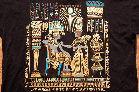 80s-90s Egyptian Gold Foil T-Shirt, XL, Vintage 1980s-1990s, Egypt Hieroglyphics
