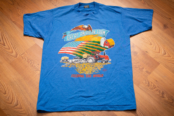 90s The Great American Farm T-Shirt, M/L, Vintage 1990s, Farming Tractor, Eagle