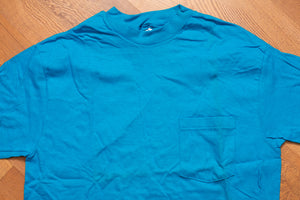 80s Teal Pocket T-Shirt, M, Vintage 1980s, Hanes Beefy-T, Single Stitch Tee