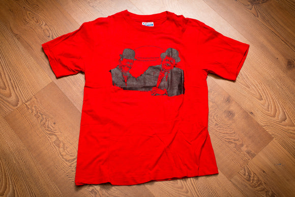 vintage 80s red t-shirt with graphic of laurel and hardy