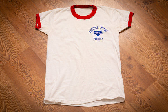 Blue YMCA Daytona Beach Florida logo on a vintage 50s-60s white t-shirt with red collar and sleeve rings