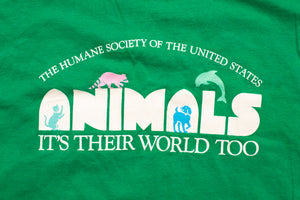 90s Animals It's Their World Too T-Shirt, L, Humane Society, Vintage 1990s, Pet Graphic Tee, PETA
