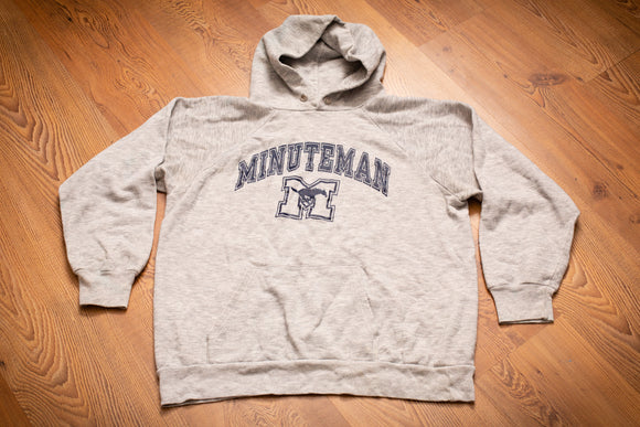 vintage 80s gray hoodie sweatshirt with minuteman text and horse and