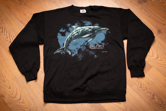 vintage 80s to 90s black sweatshirt with color graphic of a dolphin