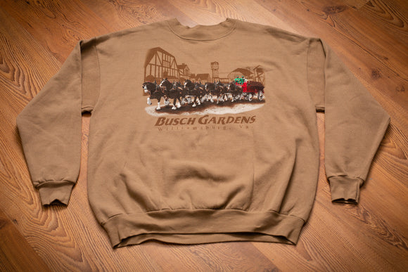 vintage 90s brown sweatshirt with budweiser clydesdales graphic and busch gardens text
