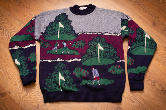 vintage 90s grand slam munsingwear knit sweater with golf course graphics covering the entire shirt
