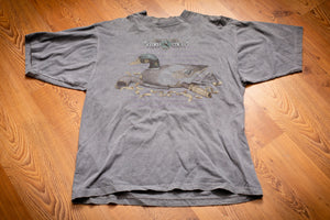 90s Duck Decoy and Call Hunting T-Shirt, L, Vintage Tee, Galt Sand, Sportsmen