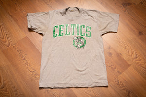 vintage 80s gray t-shirt with boston celtics logo and spellout text