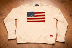 vintage 90s beige knit polo by ralph lauren sweater with american flag graphic and rl text
