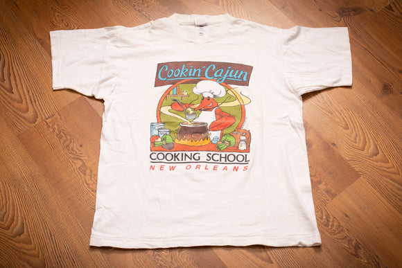 90s Cookin' Cajun New Orleans T-Shirt, M/L, Vintage Tee, Cooking School, Lobster