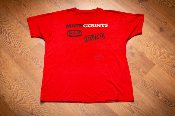 vintage 80s red t-shirt from mathcounts with
