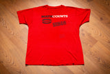 "vintage 80s red t-shirt from mathcounts with ""property of the mathletic department"" text"