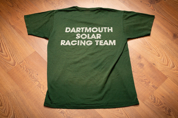vintage 80s green t-shirt with text of dartmouth solar racing team