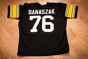 vintage 70s to 80s black jersey for pittsburgh steelers number 76 john banaszak
