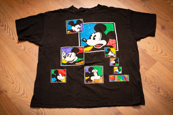 90s Mickey Mouse Colorblock T-Shirt, 2XL, Vintage Tee, Walt Disney