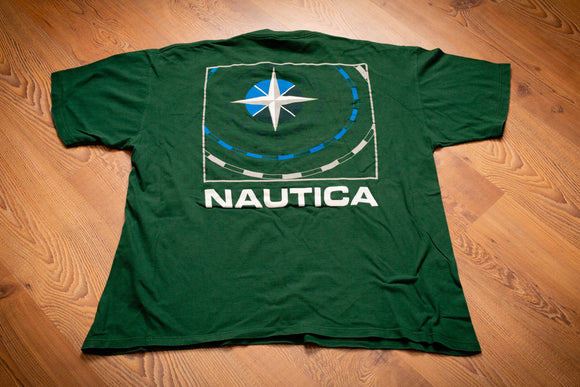 vintage 90s green t-shirt with nautica spellout name and compass graphic