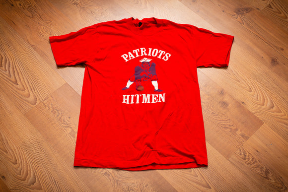 vintage 80s red patriots hitmen fan made graphic t-shirt