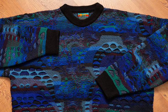 80s-90s Far Horizons Australia Sweater, L/XL, Vintage, Hip Hop Streetwear, Blue Shirt