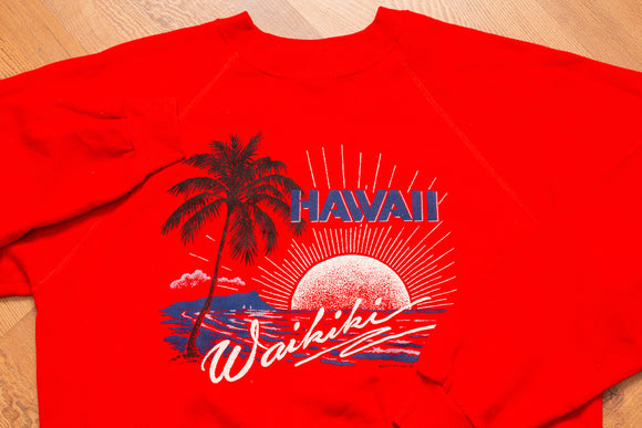 80s Waikiki Hawaii Raglan Sweatshirt, L/XL, Vintage, Aloha, Hang Ten, Beach, Surf Shirt