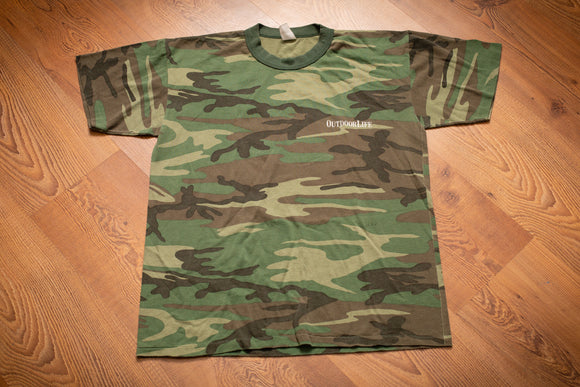 80s Outdoor Life Camo T-Shirt, M, Vintage Tee Swing, Camouflage Hunting