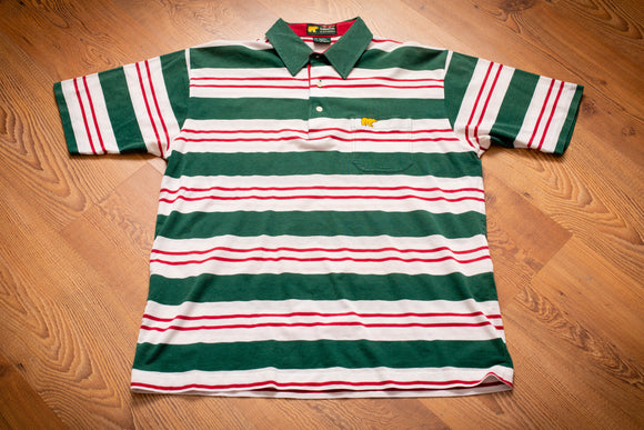 vintage 80s polo shirt from golden bear by jack nicklaus with green and red candy cane like stripes