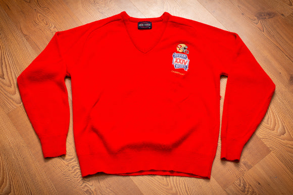 90s San Francisco 49ers Super Bowl XXIV Champions Sweater, S, Vintage V-Neck