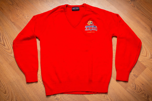 80s San Francisco 49ers Super Bowl XXIII Champions Sweater, S, Vintage V-Neck