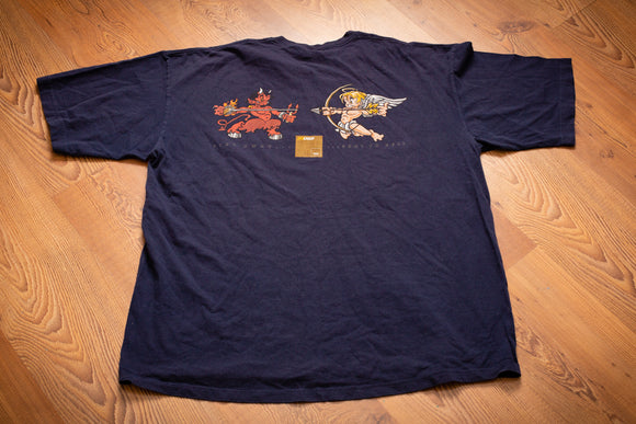 vintage 90s blue t-shirt with graphics of angel and devil aiming weapons at each other