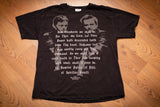 Vintage 1990s black t-shirt promoting The Boondock Saints movie showing a graphic of two men with guns and prayer text