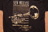 80s New Orleans Birthplace of Jazz T-Shirt, M, Vintage Tee, Gold Foil Trumpet