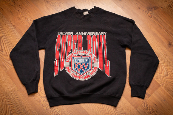 vintage 90s black sweatshirt with text, logo and graphics for super bowl xxv silver anniversary