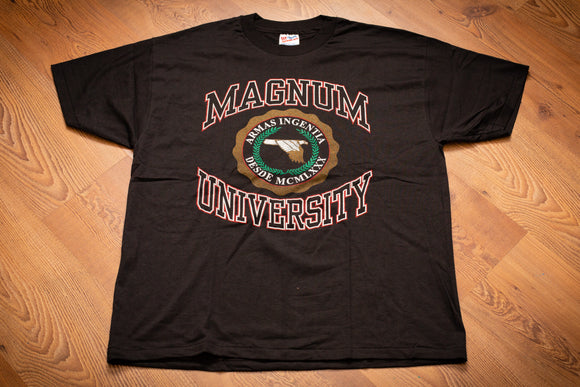 Vintage 90s black t-shirt with Magnum University logo for Magnum Research firearms company
