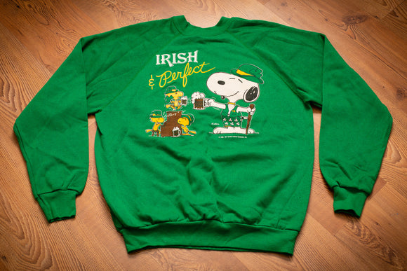 vintage 80s green sweatshirt with snoopy and woodstock drinking root beer with irish and perfect text