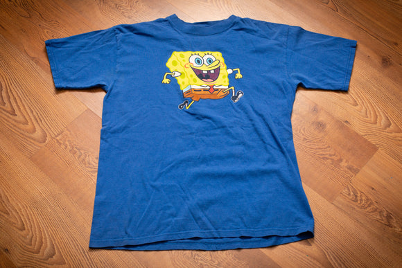 Y2K blue t-shirt with Spongebob Squarepants smiling and running
