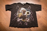 vintage 90s black t-shirt with native american chief, eagle and lightning graphics