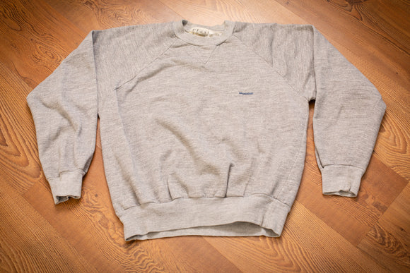 vintage 70s to 80s gray raglan sweatshirt with small mcgregor spellout text on chest