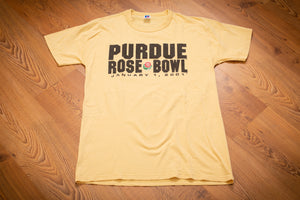 light yellow t-shirt with purdue rose bowl text and logo from 2001
