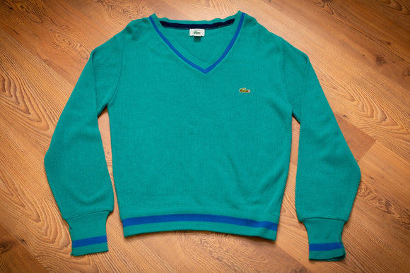 vintage 80s teal izod lacoste v-neck sweater with blue line accents