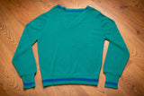 80s Izod Lacoste Teal V-Neck Sweater, S, Vintage Preppy Shirt, Hipster, Blue Lined