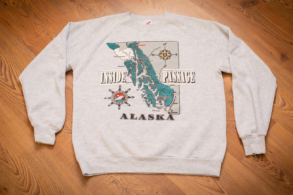 vintage 90s gray sweatshirt with alaska coastline map, inside passage text, and other nautical graphics